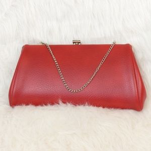 Vintage Red &Silver Tone Clutch